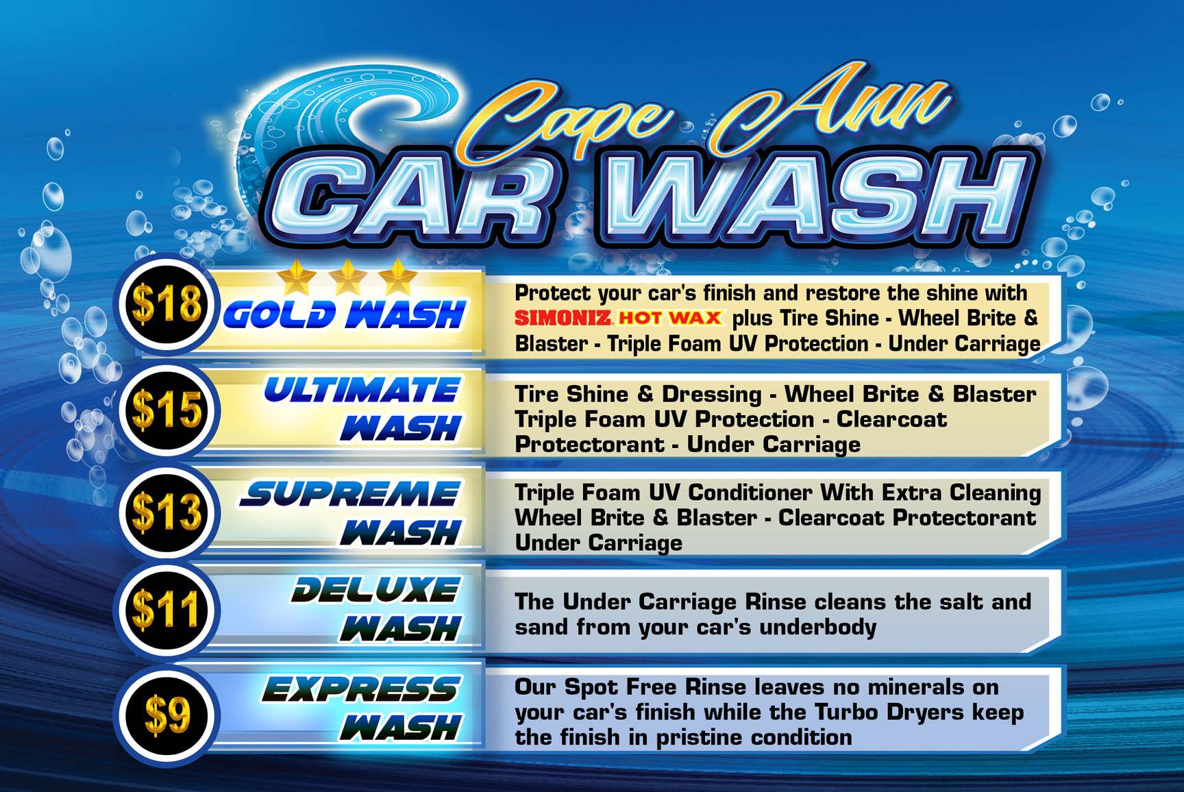 Car Wash Prices: Cape Ann Car Wash